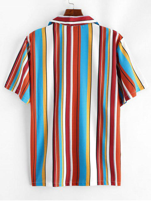 hot Notched Collar Contrast Stripe Shirt - ROSSO RED L Mobile