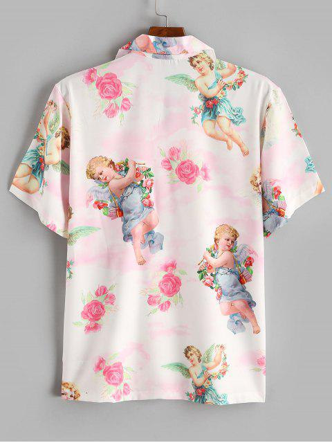 best Angel Flower Renaissance Print Vacation Shirt - PIG PINK S Mobile