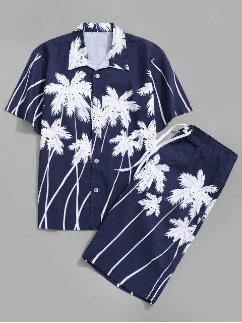 buy Coconut Palm Print Hawaii Shirt and Beach Shorts - DEEP BLUE S Mobile