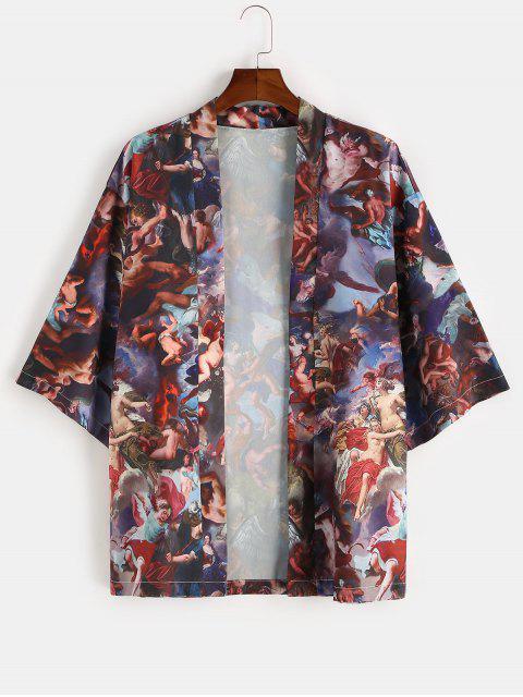 women Angel Renaissance Print Open Front Kimono Cardigan - COFFEE 2XL Mobile