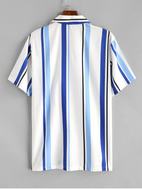 outfits Stripe Notched Collar Shirt - DEEP SKY BLUE M Mobile