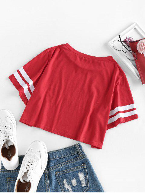 ZAFUL Gestreiftes USA Grafik Crop T-Shirt - Rot L Mobile