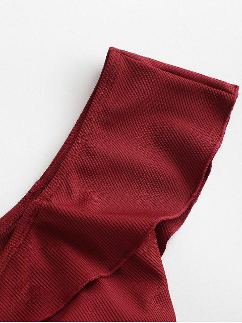 shop ZAFUL Ruffle Ribbed Cinched Off Shoulder Bikini Top - RED WINE M Mobile