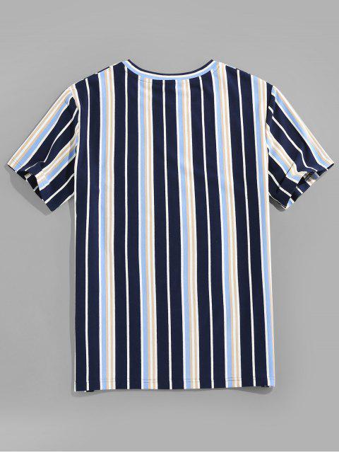 Maglietta a Righe Verticali con Scollo Rotondo - Profondo blu 2XL Mobile