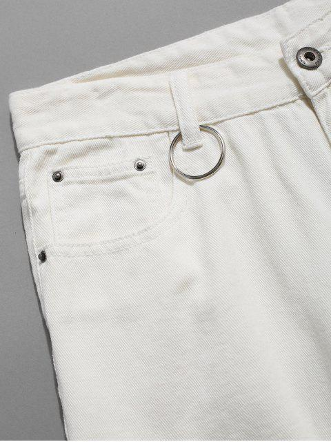 womens Distressed Ripped Ribbon Ring Demin Shorts - WHITE 34 Mobile