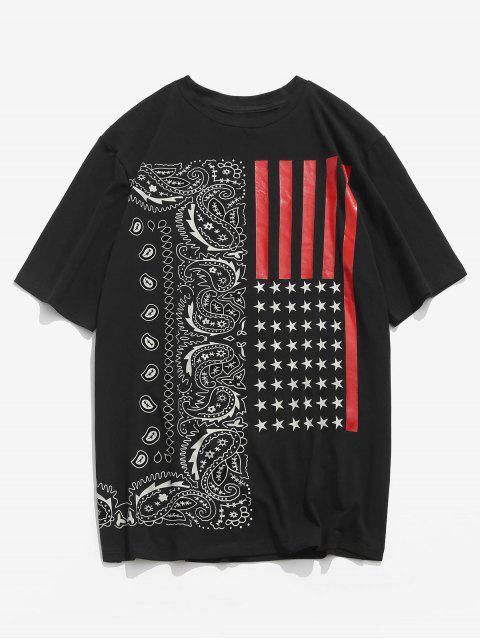 shop ZAFUL American Flag Paisley Print T-shirt - BLACK 2XL Mobile