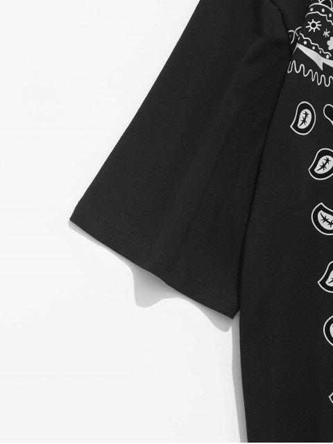 outfit ZAFUL American Flag Paisley Print T-shirt - BLACK L Mobile