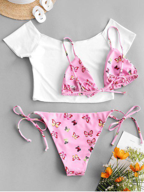 unique ZAFUL Off Shoulder Butterfly String Three Piece Bikini Swimwear - LIGHT PINK S Mobile