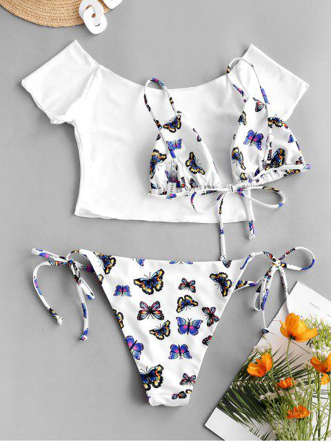 ladies ZAFUL Off Shoulder Butterfly String Three Piece Bikini Swimwear - BLUE S Mobile