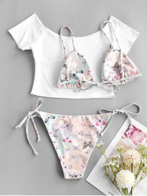 ladies ZAFUL Off Shoulder Butterfly String Three Piece Bikini Swimwear - LIGHT GREEN S Mobile