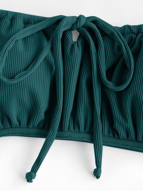 women ZAFUL Ribbed Low Waisted Bowknot Cami Bikini Swimwear - DEEP GREEN S Mobile