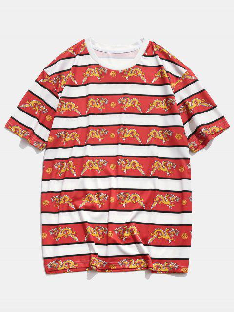 lady Dragon Printing Short Sleeves Casual T-shirt - RED XL Mobile