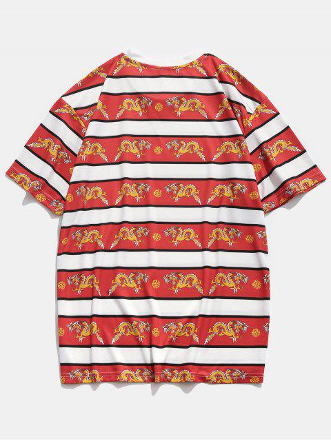 T-Shirt Casuale Stampata a Drago con Maniche Corte - Rosso XL Mobile