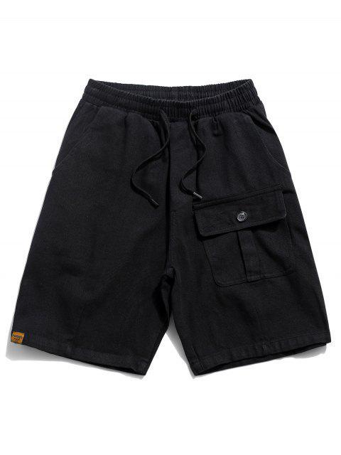 lady Solid Flap Pocket Drawstring Solid Shorts - BLACK 2XL Mobile
