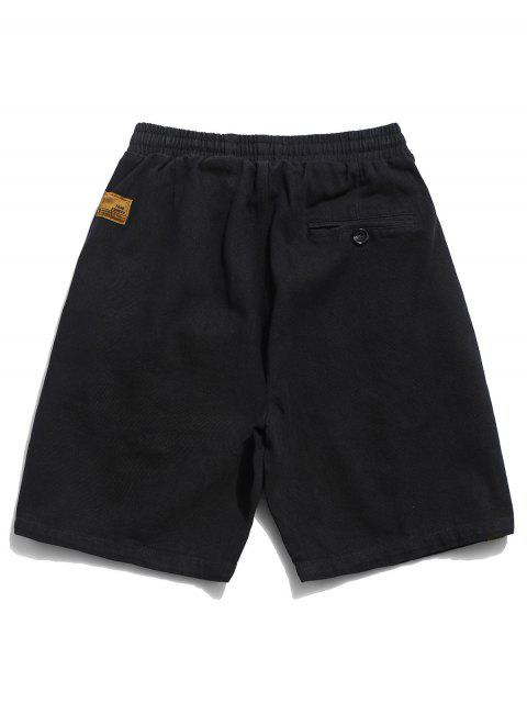 best Solid Flap Pocket Drawstring Solid Shorts - BLACK 3XL Mobile