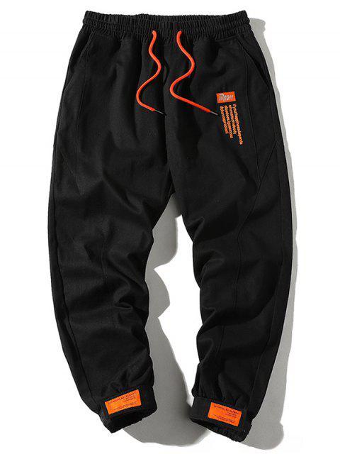 Pantalones de Carga con Cordón de Gancho con Dobladillo - Negro L Mobile