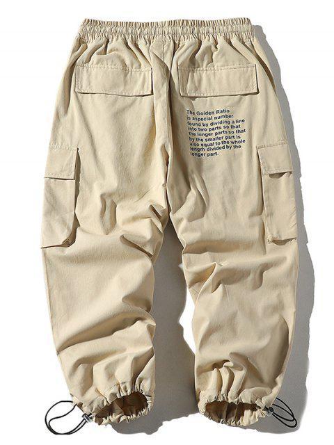 women's Letter Print Drawstring Jogger Cargo Pants - KHAKI 3XL Mobile