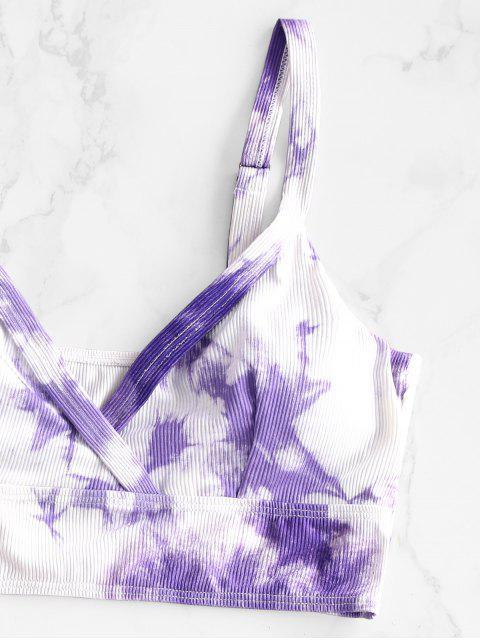 ZAFUL Maillot de Bain Tankini Côtelé Teinté à Coupe Haute - Violet clair S Mobile
