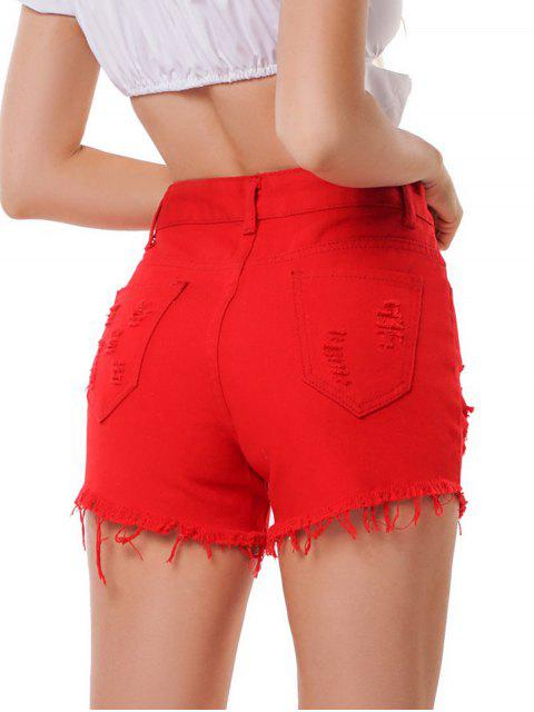 outfit Distressed High Waist Raw Hem Denim Shorts - RED L Mobile