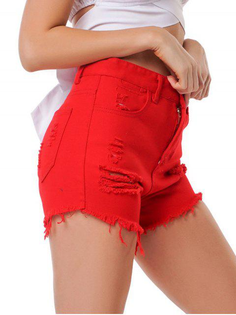 Distressed High Waist Raw Hem Denim Shorts - أحمر M Mobile