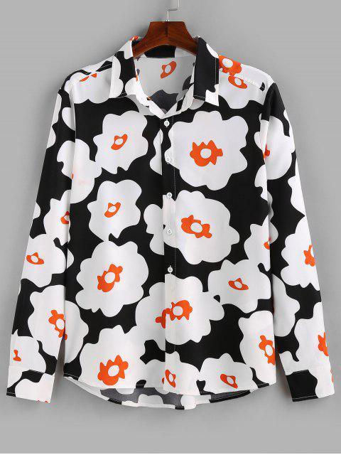 ZAFULフラワープリントシャツアップロングスリーブボタン - ブラック S Mobile