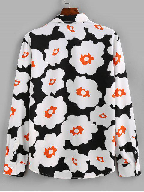 ZAFUL Flower Print Long Sleeve Button Up Shirt - أسود XL Mobile