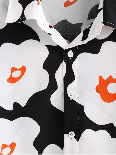 best ZAFUL Flower Print Long Sleeve Button Up Shirt - BLACK XL Mobile