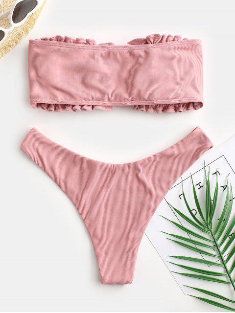 latest ZAFUL Tie Front Ribbed Side Boning Bandeau Bikini Swimwear - LIGHT PINK M Mobile