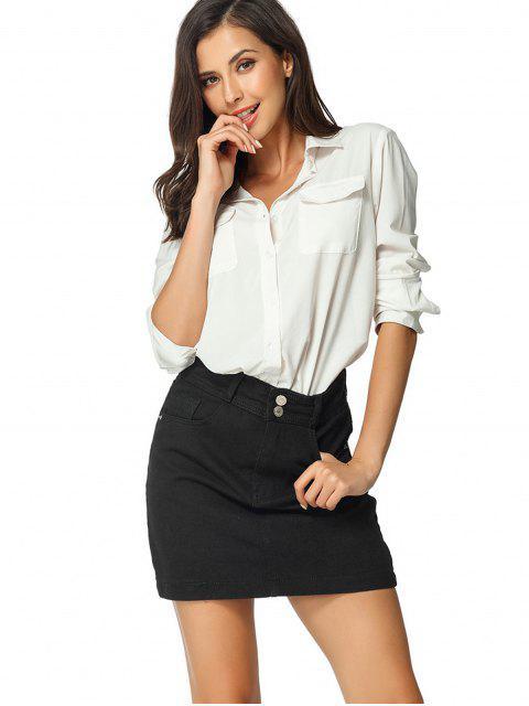 buy High Waisted Zip Fly Denim Skirt - BLACK L Mobile