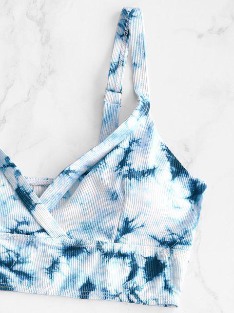 womens ZAFUL Tie Dye Ribbed High Cut Tankini Swimwear - LIGHT BLUE 2XL Mobile
