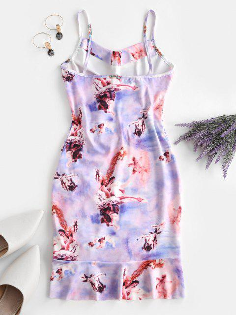 women's Cinched Ruffle Hem Open Back Angel Print Dress - LIGHT PURPLE L Mobile