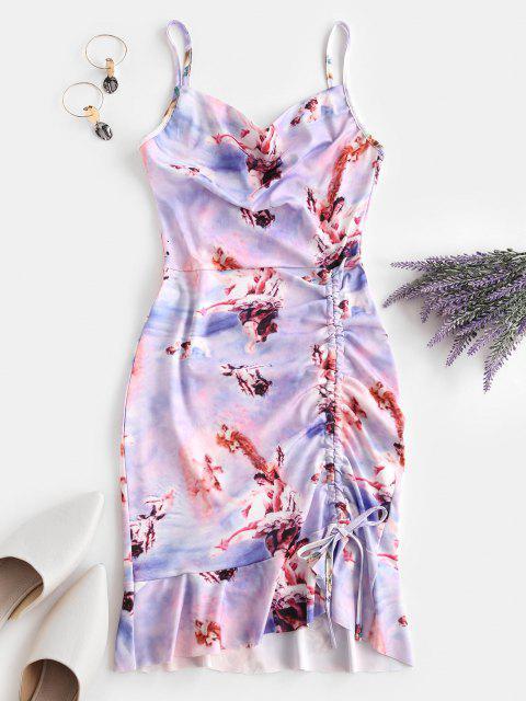 women Cinched Ruffle Hem Open Back Angel Print Dress - LIGHT PURPLE M Mobile