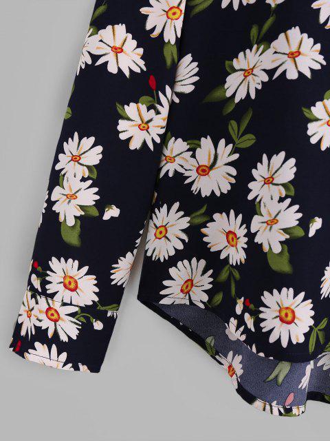 online ZAFUL Daisy Print Button Up Long Sleeve Shirt - DEEP BLUE S Mobile