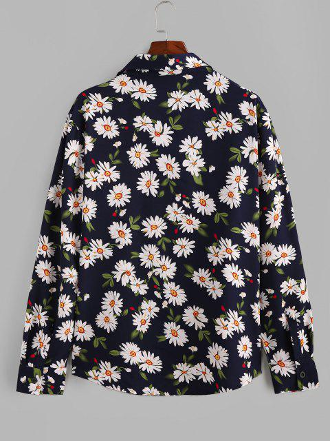 outfits ZAFUL Daisy Print Button Up Long Sleeve Shirt - DEEP BLUE 2XL Mobile