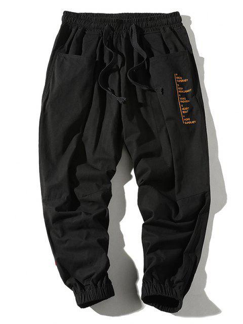 Pantalones Jogger Casual con Estampado de Letras y Bolsillos - Negro M Mobile