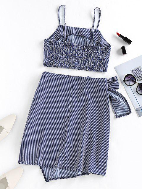 new ZAFUL Asymmetric Stripe Tie Front Two Piece Dress - DEEP BLUE M Mobile