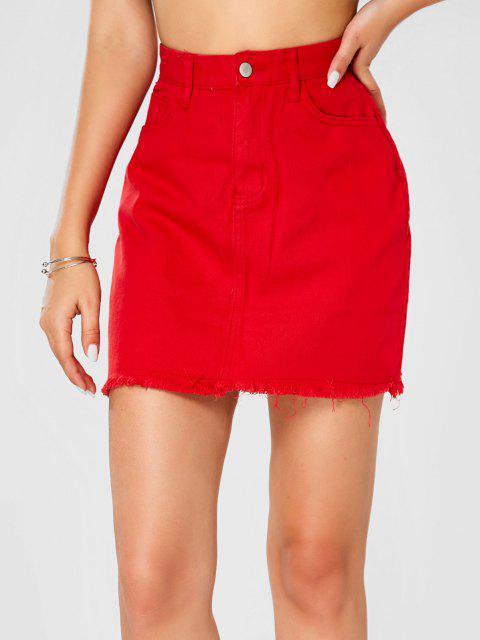 ladies Frayed Hem Solid Denim Mini Skirt - RED S Mobile
