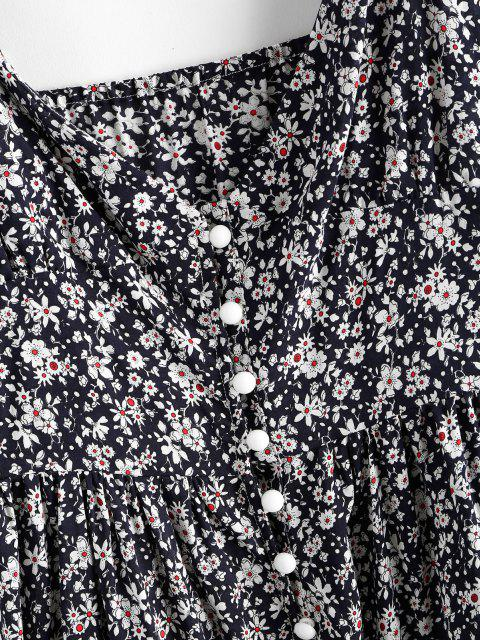 fancy ZAFUL Ruffles Half Buttoned Floral Dress - DEEP BLUE XL Mobile
