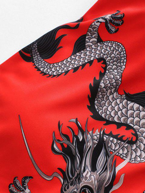 ZAFUL Orientalische Bandeau Tankini Badebekleidung mit Drachendruck - Rot 2XL Mobile