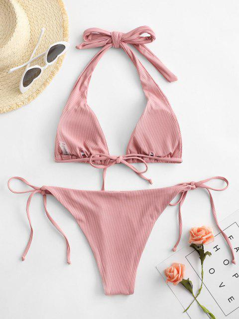latest ZAFUL Halter Ribbed Tie Convertible Bikini Swimwear - LIGHT PINK S Mobile