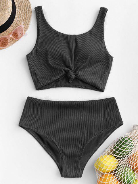 new ZAFUL Knot Textured Ribbed Tankini Swimsuit - BLACK L Mobile