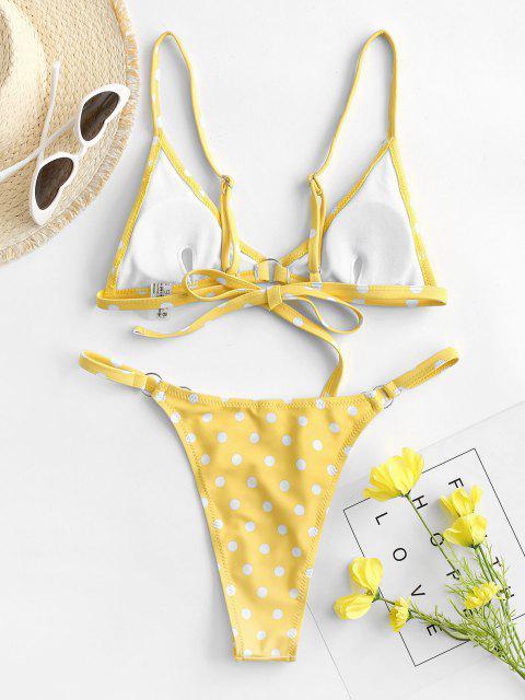 ZAFUL Tupfen O Ring Schnur Bikini Badebekleidung - Gelb L Mobile