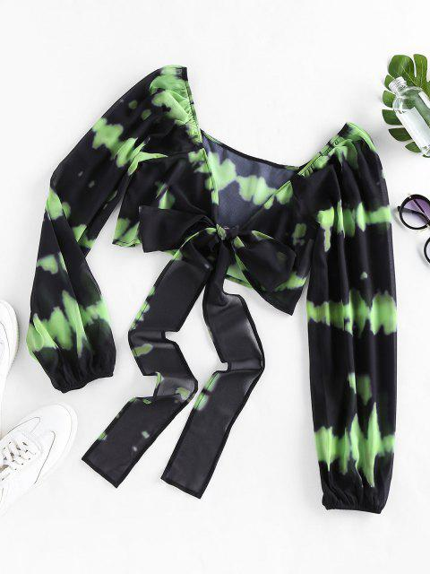 ladies ZAFUL Tie Dye Bowknot Plunging Crop Blouse - YELLOW GREEN S Mobile