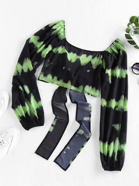 women's ZAFUL Tie Dye Bowknot Plunging Crop Blouse - YELLOW GREEN XL Mobile