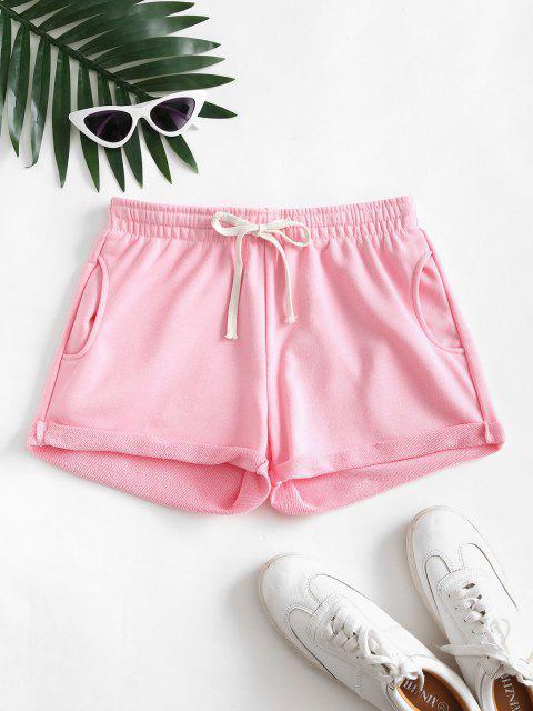 best Pockets Drawstring Cuffed Hem Sweat Shorts - LIGHT PINK L Mobile