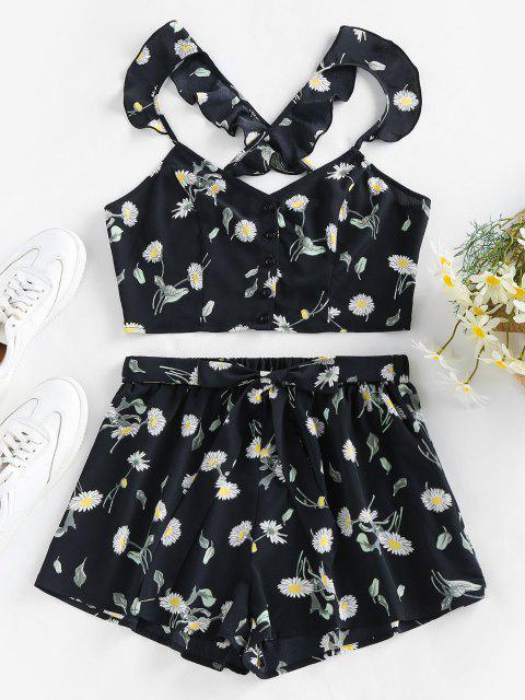 affordable ZAFUL Crisscross Daisy Print Two Piece Shorts Set - BLACK S Mobile