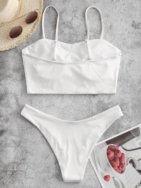 ladies ZAFUL Oriental Dragon Print Ribbed Tankini Swimwear - BLACK L Mobile