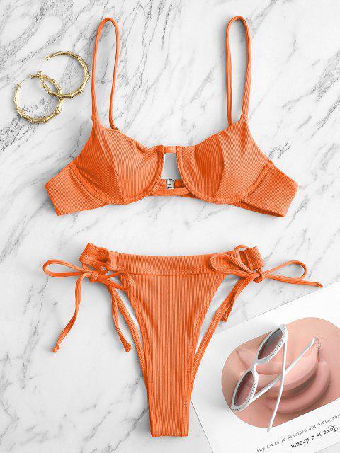 ZAFUL Gerippte Bügel Bikini Badebekleidung - Orange S Mobile