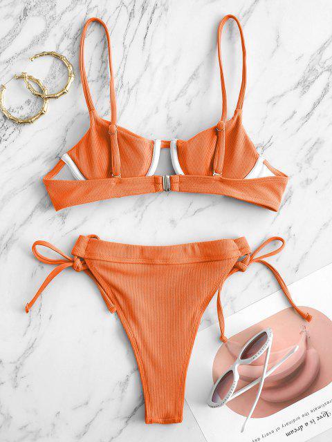 Costume da Bagno Bikini Annodato a Costine con Ferretto di ZAFUL - Arancio S Mobile