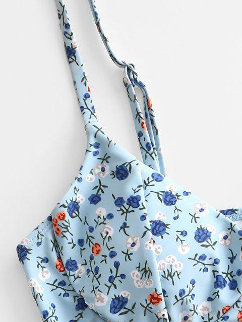 ZAFUL Ditsydruck Bügel Bikini Badebekleidung mit Hohem Bein - Hellblau M Mobile